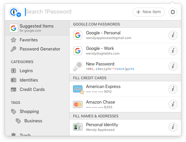 Screenshot of the 1Password X modal showing.